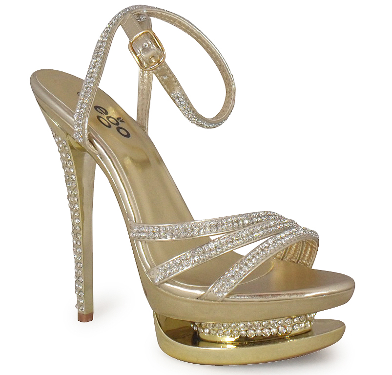 new womens gold stiletto high heel bridal