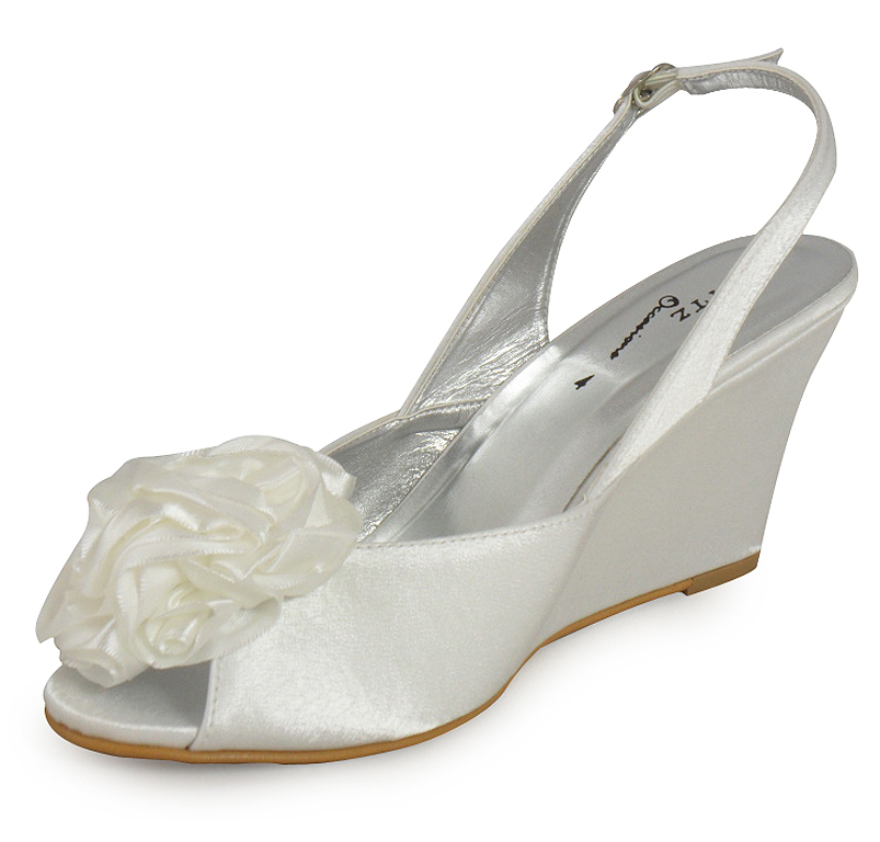 LADIES WOMENS IVORY BRIDAL PROM PARTY WEDGE SHOES 3 8