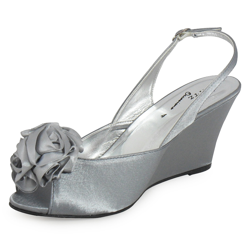LADIES WOMENS SILVER BRIDAL PROM PARTY WEDGE SHOES 3 8